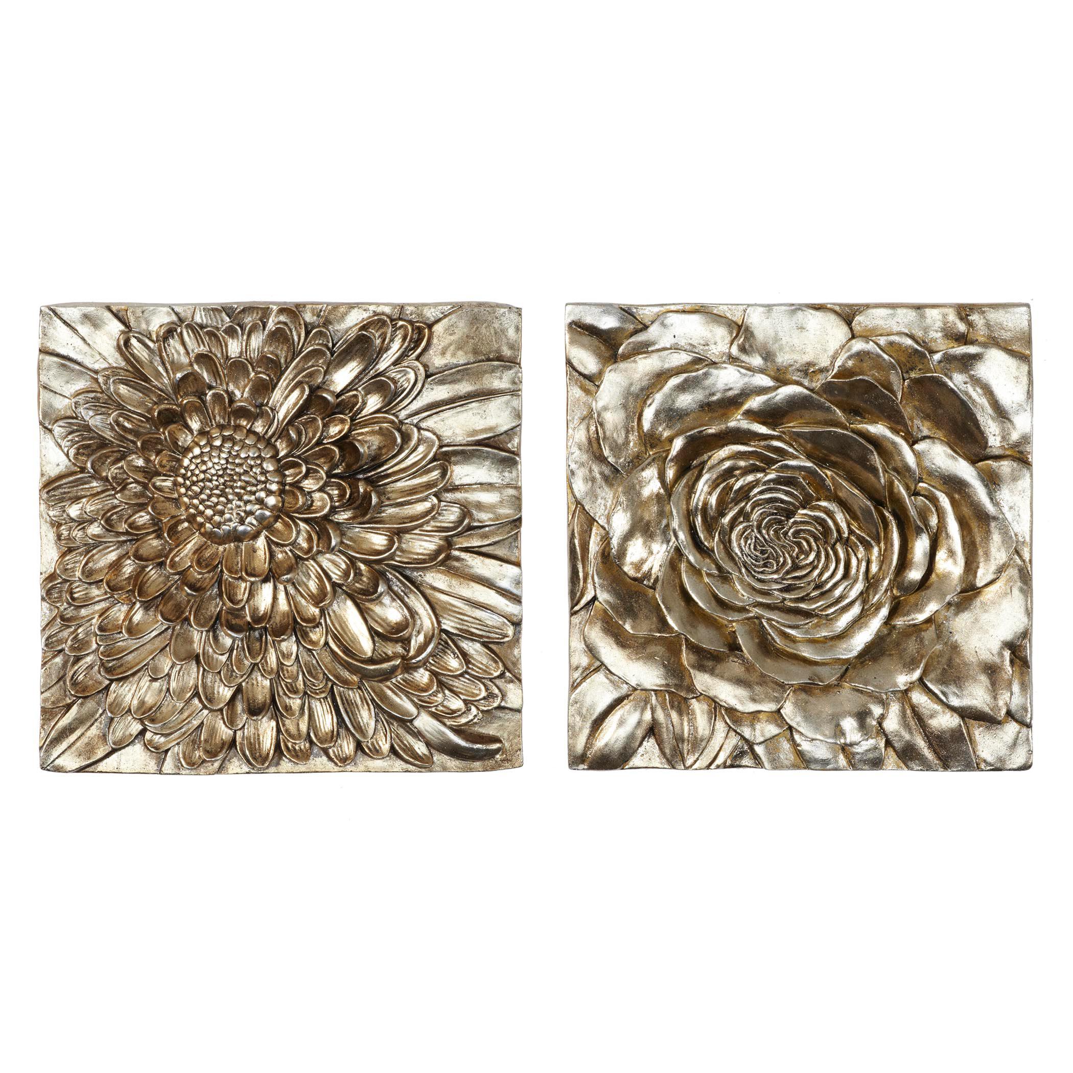 dahlia and peony plaque - set of 2