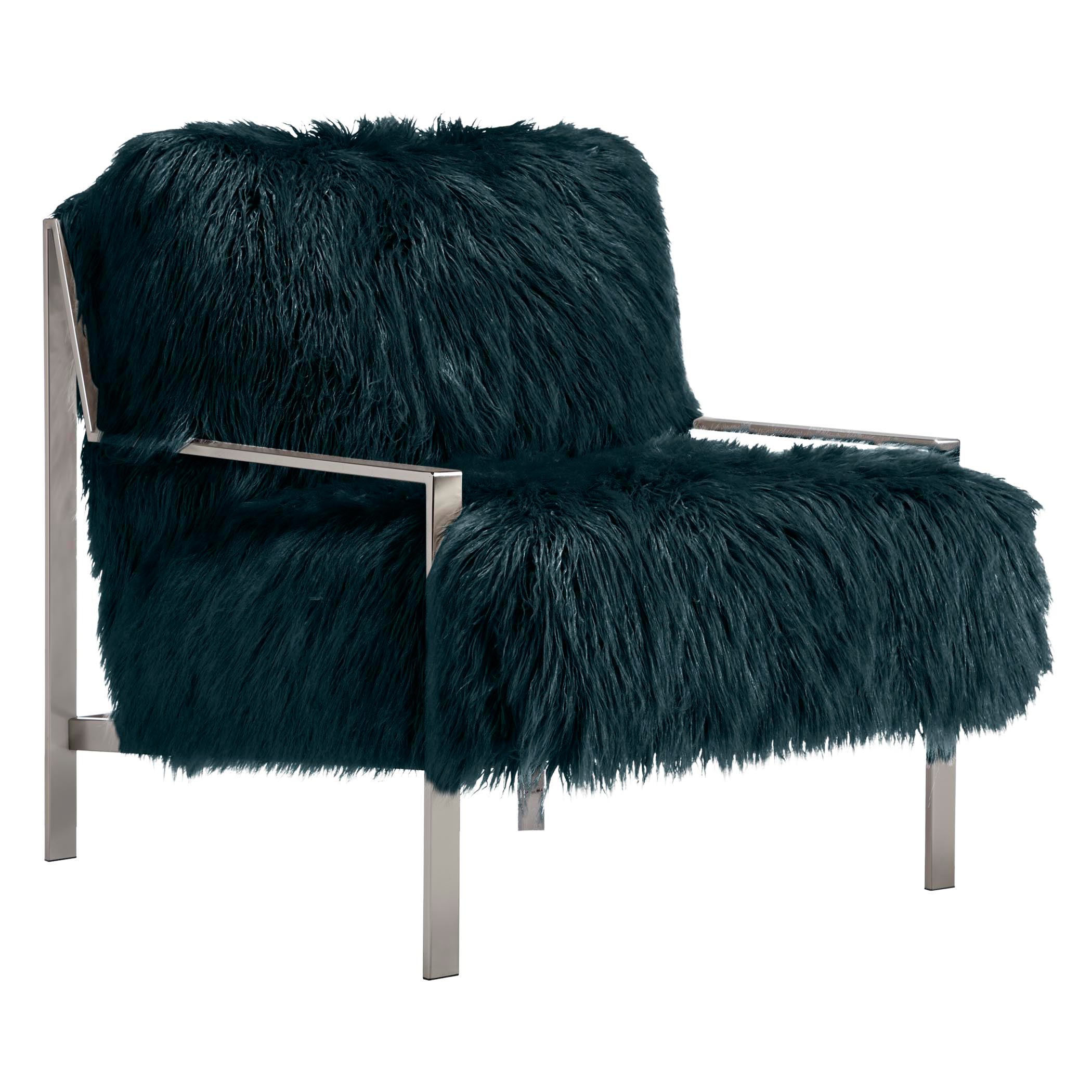 Axel Fur Accent Chair - Brushed Silver