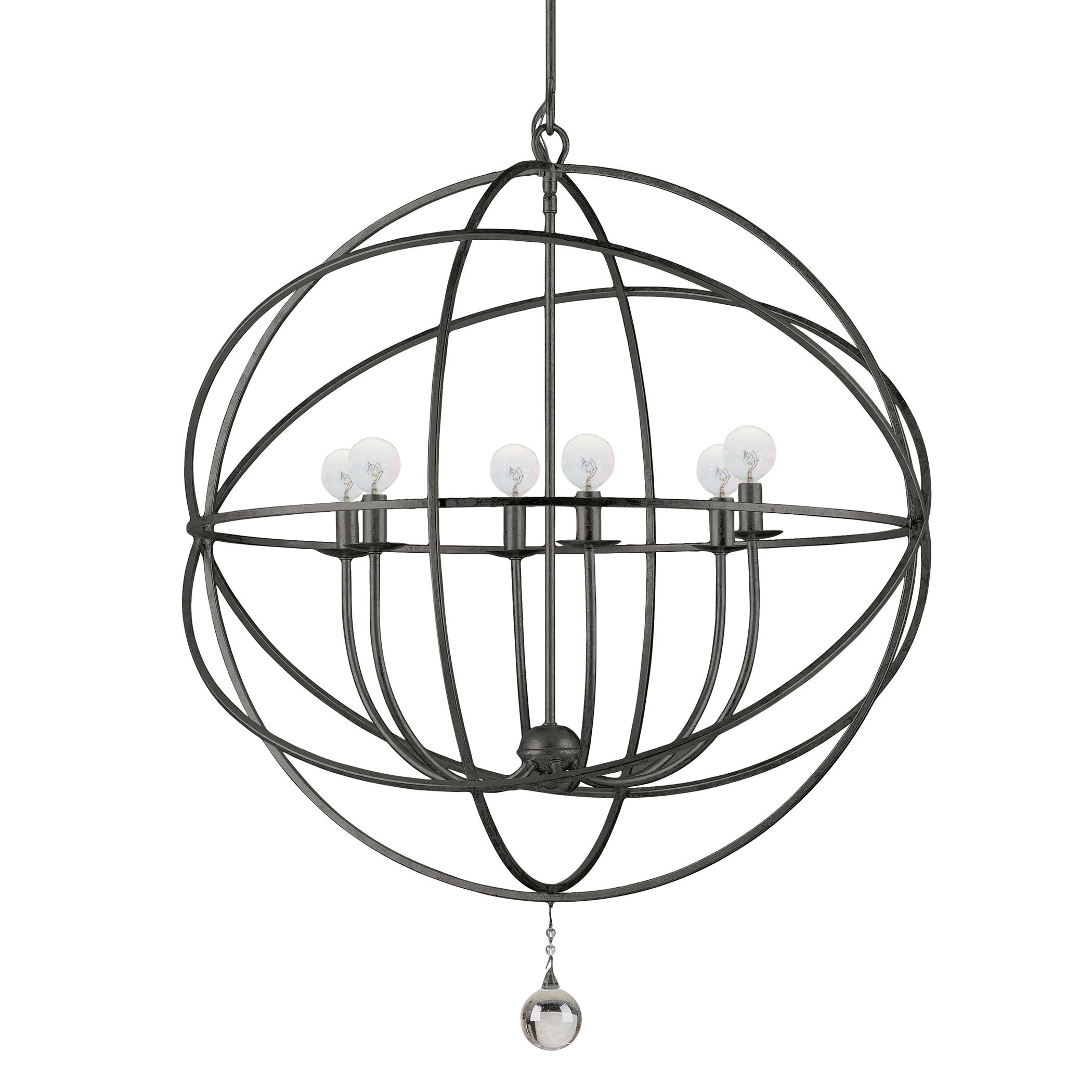 """six-arm chandelier 29""""d"""