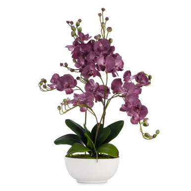 Faux Orchid Amethyst With Pot