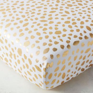 Ink Dot Crib Sheet - Gold