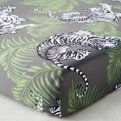 Tigress Crib Sheet - Charcoal