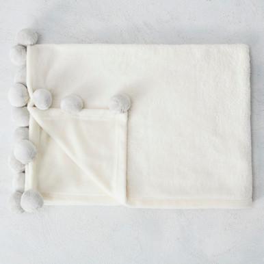 Pom Blanket - Grey