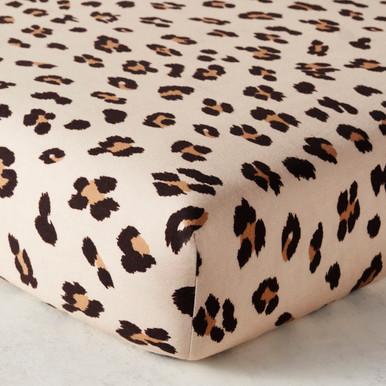Leopard Spot Crib Sheet - Beige