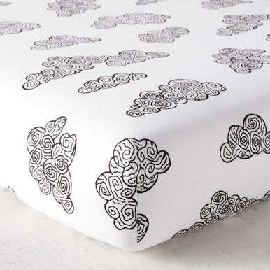 Cloud Crib Sheet - Black