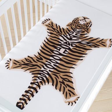 Tiger Engineered Crib Sheet - Black