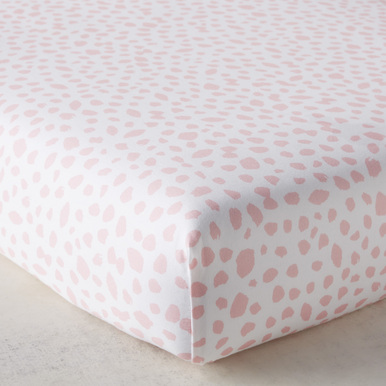 Ink Dot Crib Sheet - Blush