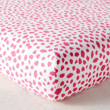 Ink Dot Crib Sheet - Bright Pink