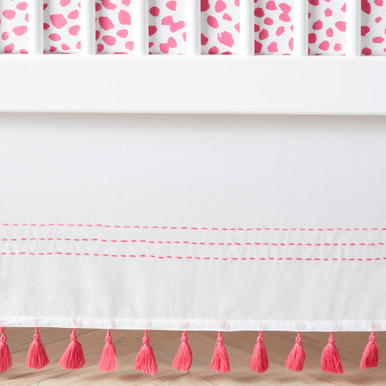 Rowan Tassel Cribskirt - Bright Pink