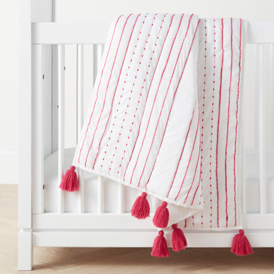 Rowan Tassel Toddler Quilt - Bright Pink