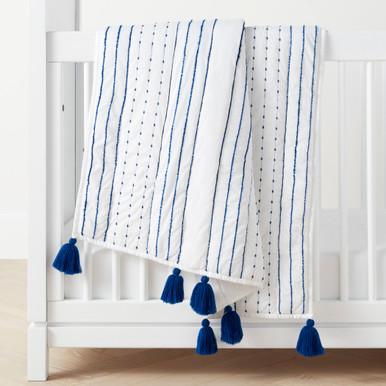 Rowan Tassel Toddler Quilt - Blue