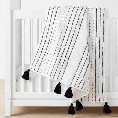 Rowan Tassel Toddler Quilt - Black