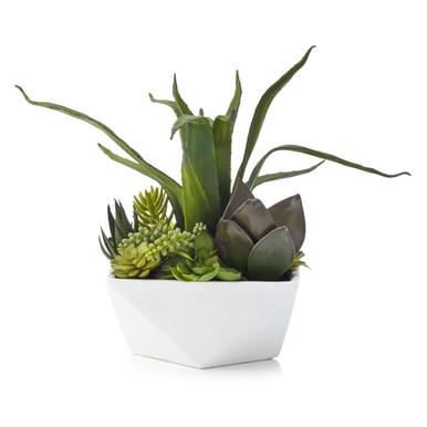 Faux Aloe And Succulent Geo Pot
