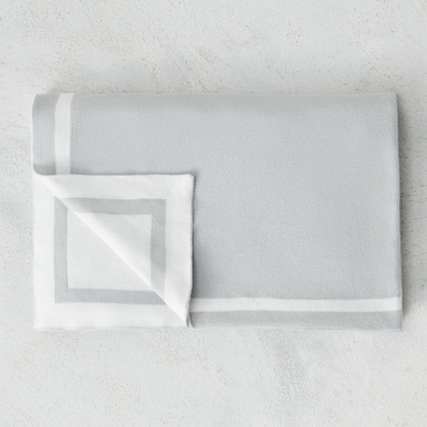 Cotton Knit Tuxedo Blanket - Dove Grey