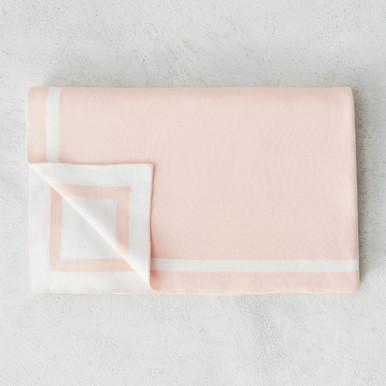 Cotton Knit Tuxedo Blanket - Blush