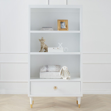 Uptown Bookcase With Drawer - White