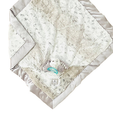 Luxie Pockets Snow Leopard + Puppy Rattle Security Blanket