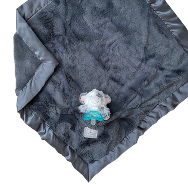 Luxie Pockets Charcoal + Cow Rattle Security Blanket