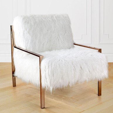 Axel Fur Accent Chair - Champagne