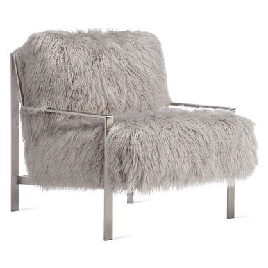 Axel Fur Accent Chair - Brushed Nickel