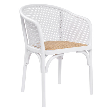 Flynn Armchair - White/Rattan