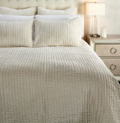 Mardon Velvet Bedding - Ivory