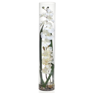 Faux Orchid in Glass Vase