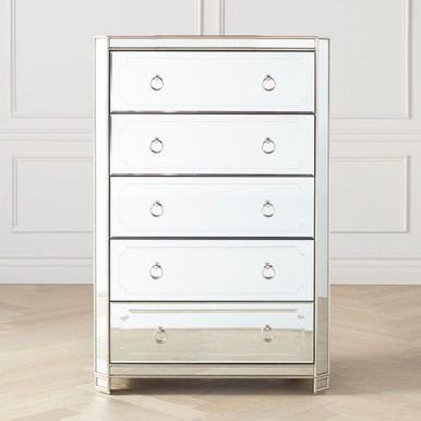Simplicity Mirrored 5 Drawer Tall Chest