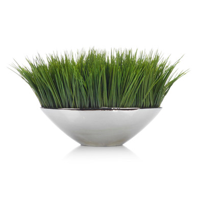Faux Grass In Silver Pot