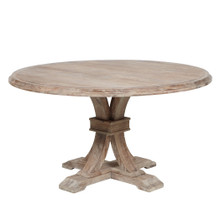 Archer Wash Oak Fixed Pedestal Dining Table