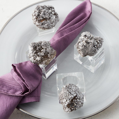 Aura Geode Napkin Ring - Set of 4