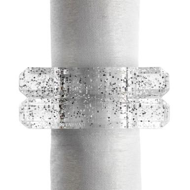 Acrylic Glitter Napkin Ring - Set of 4
