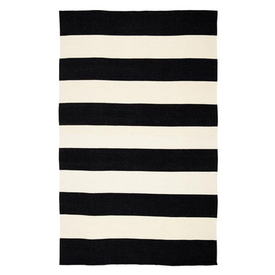 Accra Outdoor Stripe Rug - Black/Ivory