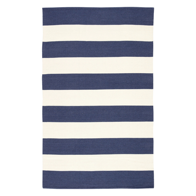 Accra Outdoor Stripe Rug - Navy/Ivory