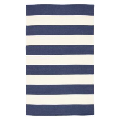 Accra Outdoor Stripe Rug - Navy/Ivory