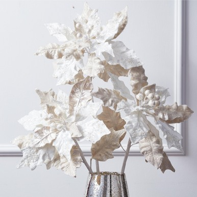 Glittered Poinsettia - Set of 3