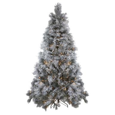 Pre-Lit Flocked Spruce Tree 7.5'