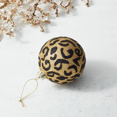 Glitter Leopard Ornament
