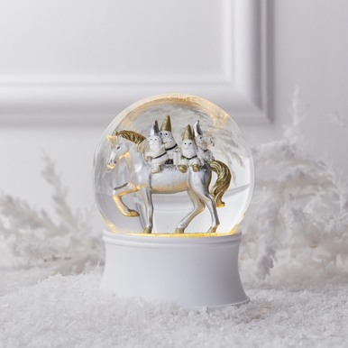 Unicorn With Gnomes Snow Globe