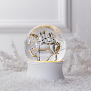 Unicorn With Gnomes Snow Globe