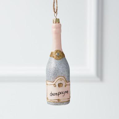 Glittery Champagne Bottle Ornament