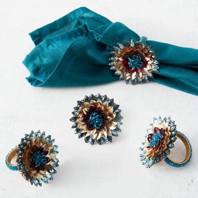 Jeweled Flower Napkin Ring - Set of 4