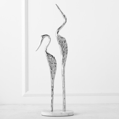Silver Cranes With Marble