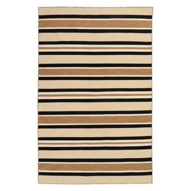 Variagated Stripe Outdoor Rug - Black