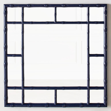 Bamboo Mirror - Glossy Navy Blue