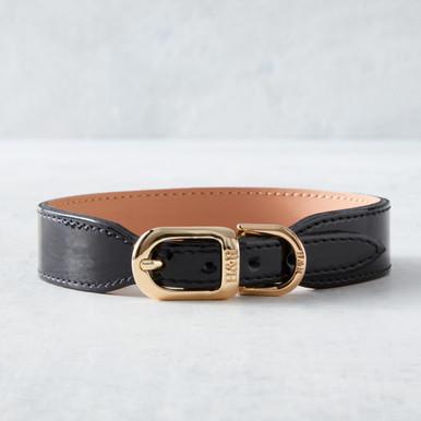 Italian Leather Collar  - Black Patent