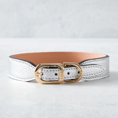 Italian Leather Collar  - Silver