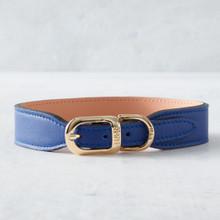 Italian Leather Collar  - Blue