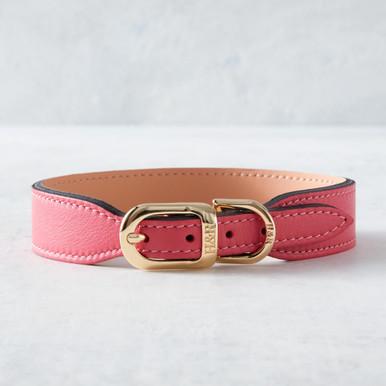 Italian Leather Collar  - Pink