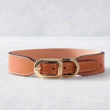 Italian Leather Collar  - Natural